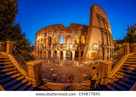Colosseum during spring time, Rome, Italy - stock photo