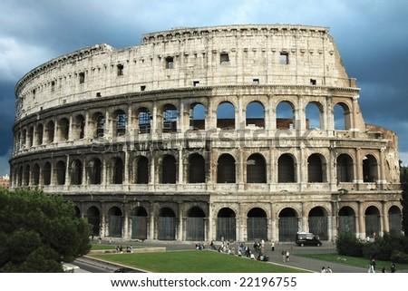 Colosseum (Flavian Amphitheatre) in Rome (Italy) - stock photo