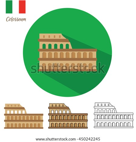 Colosseum icon set. Coliseum icon in different styles flat with long shadow, drawn, outline, isolated. illustration - stock photo