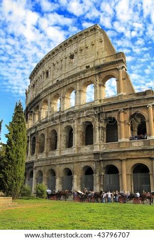 colosseum in autumn - stock photo