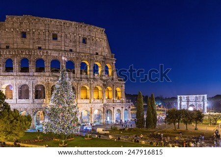 Colosseum in Rome at Christmas during sunset, Italy - stock photo
