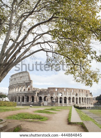Colosseum in Rome city Italy - stock photo