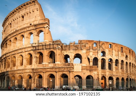 Colosseum in Rome, Italy during sunset in landscape view - stock photo