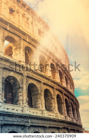 Colosseum in Rome, Italy, effect vintage - stock photo