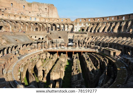 Colosseum in Rome, Italy.Flavian Amphitheatre is one of Rome's most popular tourist attractions and a famous landmark in Rome. - stock photo