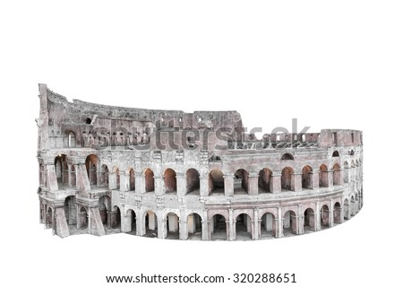 Colosseum in Rome, Italy isolated on white background with clipping path - stock photo