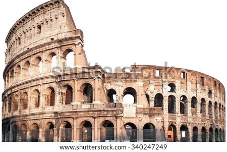 Colosseum in Rome, Italy isolated white,  - stock photo