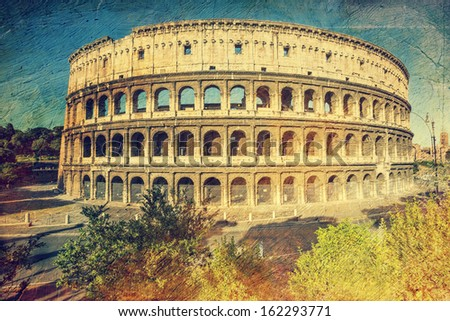 Colosseum in Rome, Italy. Picture in artistic retro style. - stock photo