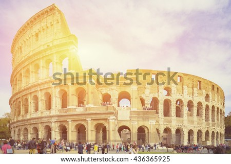 Colosseum in Rome, Italy,selective focus,vintage color - stock photo