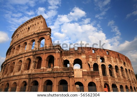 Colosseum in Rome, Italy, with blue sky