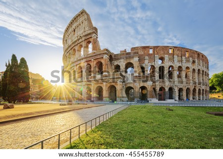 Colosseum in Rome with morning sun, Italy, Europe. - stock photo