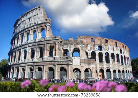 Colosseum in spring time,  Rome, Italy - stock photo
