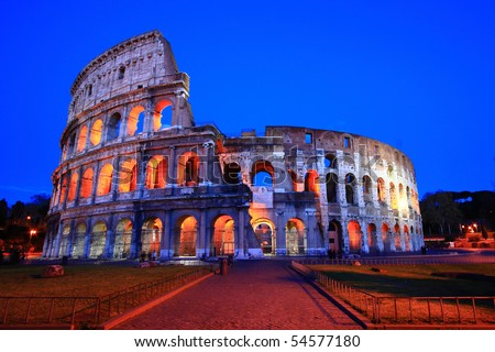 Colosseum in Twilight, the Perfect evening at Rome,Italy. - stock photo