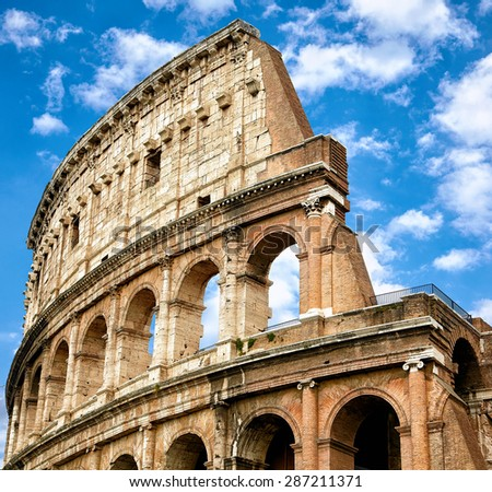 Colosseum  - landmark of Rome and Italy - stock photo