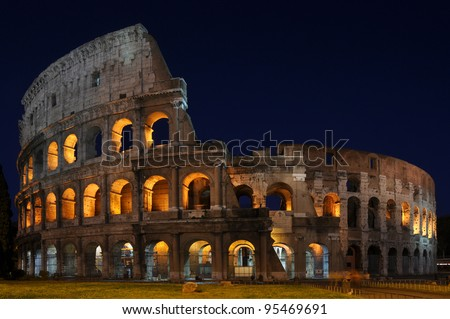 Colosseum of Rome at Night - stock photo