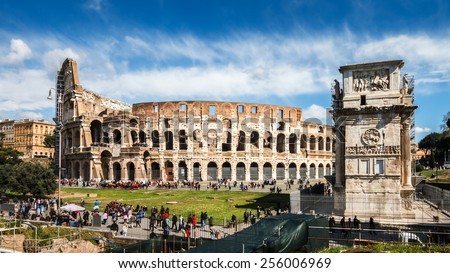 Colosseum of Rome, Italy with Constantine triumphal arch. Panorama Picture - stock photo