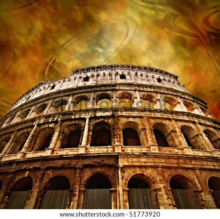 Colosseum on antique background - stock photo