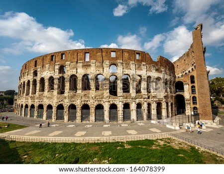 Colosseum or Coliseum, also known as the Flavian Amphitheatre, Rome, Italy - stock photo
