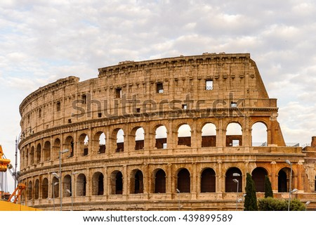 Colosseum or Coliseum in the evening, Rome, Italy. One of the main touristic destinations in Rome - stock photo