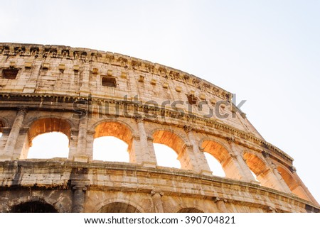Colosseum or Coliseum, Rome, Italy. It was largest amphitheatre of the Roman Empire, and is considered one of the greatest works of Roman architecture and engineering.