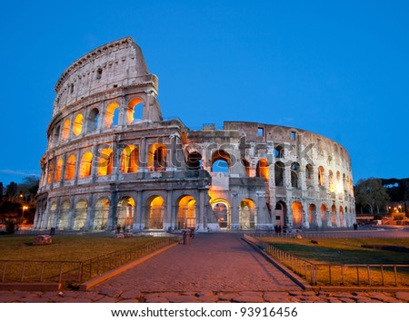 Colosseum or colosseo at dusk Rome Italy - stock photo