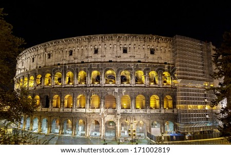 Colosseum, restoration. Rome, Italy
