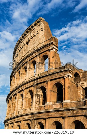Colosseum, Rome, Italy. Twilight detail view of Coliseum, elliptical Flavian Amphitheatre largest in Roman Empire built in 80AD by Emperor Vespasian - stock photo
