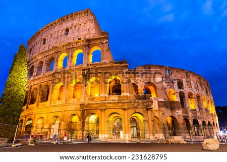 Colosseum, Rome, Italy. Twilight view of Coliseum known as Flavian Amphitheatre an elliptical amphitheatre largest in Roman Empire built in 80AD - stock photo