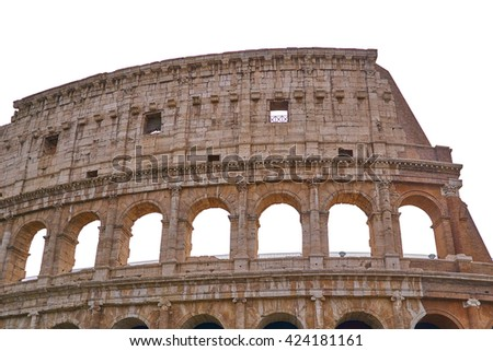 colosseum rome, upper part, with arches isolated on white background - stock photo