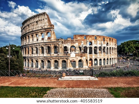 Colosseum, the elliptical amphitheater in the centre of the city of Rome  - stock photo