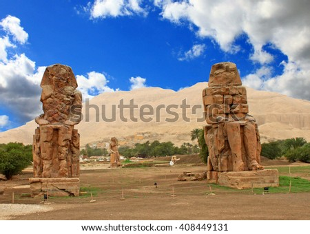 Colossi of Memnon (statues of Pharaoh Amenhotep III), Luxor, Egypt - stock photo