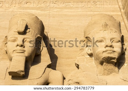 Colossi of the Great Temple of Abu Simbel, Egypt - stock photo