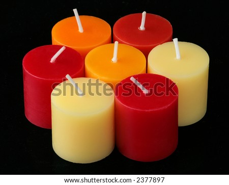 Colour Candles with black background.