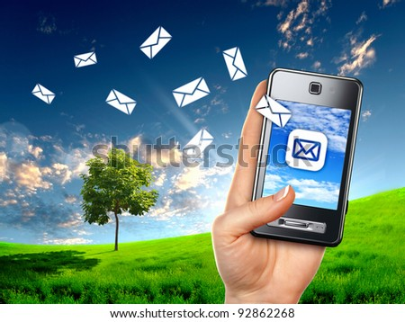 Colour collage on communication with mobile phone - stock photo