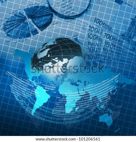 Colour collage with financial and business charts and graphs - stock photo