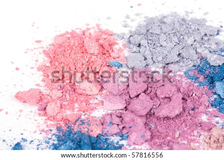 Colour crumbled eye shadows, closed-up - stock photo