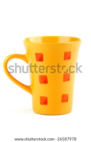 Colour cups for tea and coffee. A small white teapot. - stock photo