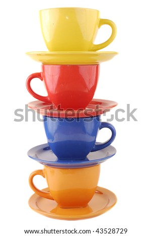 Colour cups from clay on a white background - stock photo