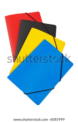 Colour folders isolated on white background - stock photo