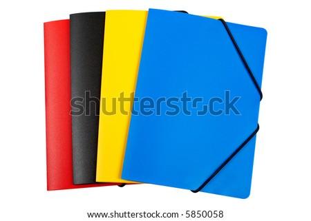 Colour folders on white background - stock photo