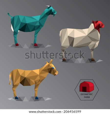 Colour full illustration of geometric farm animals made of triangle low polygons, easy changing colour, set of medium animals like goat, donkey and sheep - stock photo