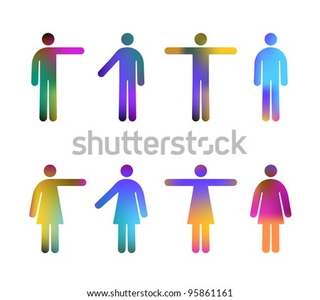 Colour Gradient Vector Pictograms of Men and Women (jpeg file has clipping path) - stock photo