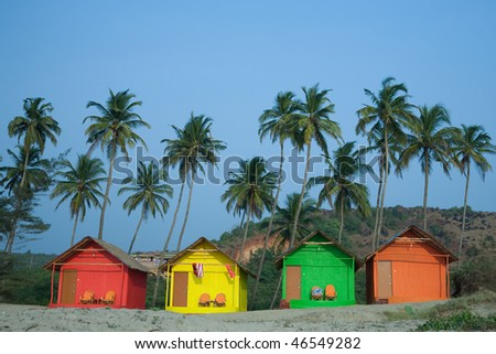 Colour huts at the sea coast - stock photo