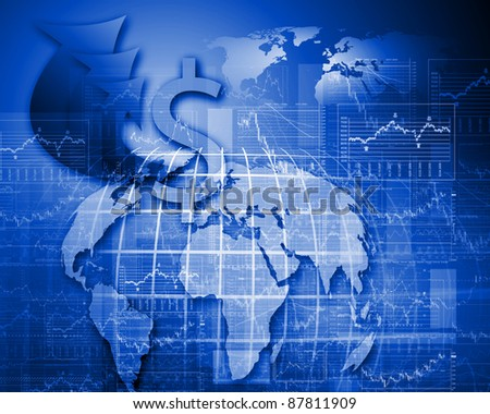 Colour illustration of business and financial charts and graphs - stock photo