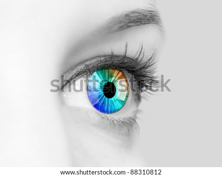 Colour image of a human eye close-up - stock photo
