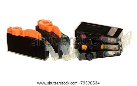 Colour Ink Cartridges on White Background - stock photo