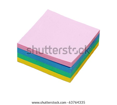 Colour note in form of the square on white background - stock photo