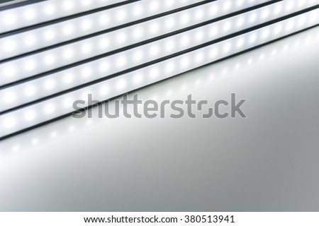 colour of led rigid strip lighht : Row of led light line on white - stock photo