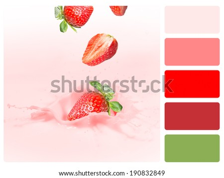 Colour palette with complimentary swatches. Fruit concept. - stock photo