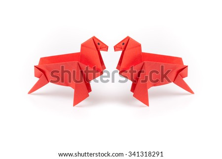 colour paper origami. Paper origami isolated on white background. - stock photo